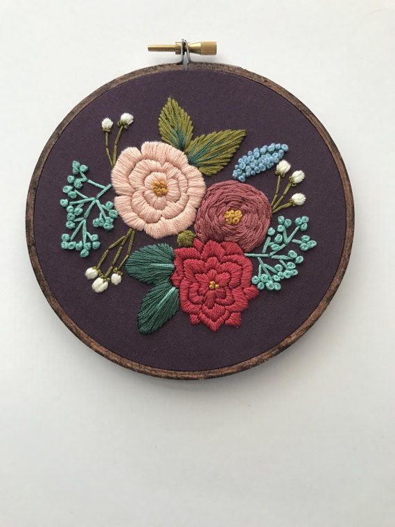 Embroidery Pattern PDF Pattern Floral por HoffeltAndHooperCo