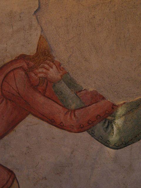 Sleeve detail - Casa delle Guardie, affresco, metà XIV sec - Castello di Avio, Sabbionara di Avio.