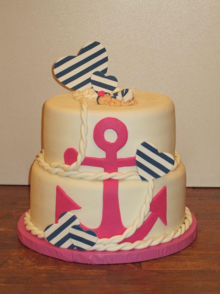 Love it - Nautical Girl Baby Shower Cake :)