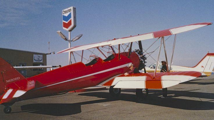 Bill Dekker Stearman PT-13 N620BD and Bill Larkins at the old Rio Vista Airport in California.