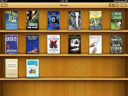 skeuomorphism: design principle in which design cues are taken from the physical world. For example, this is Apple's iBooks and it resembles a physical library or bookshelf