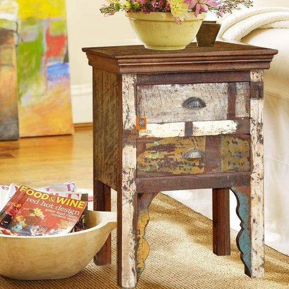 Rajwadi Reclaimed Wooden Bedside Table Handmade Furniture In 2020