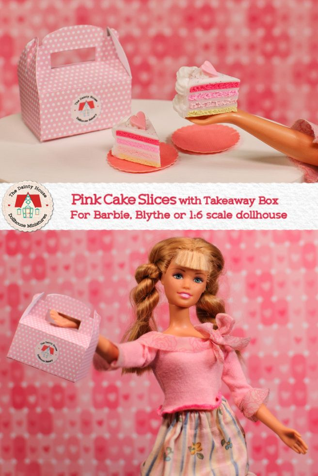 Miniature Pink Cake Slices For Barbie or Blythe