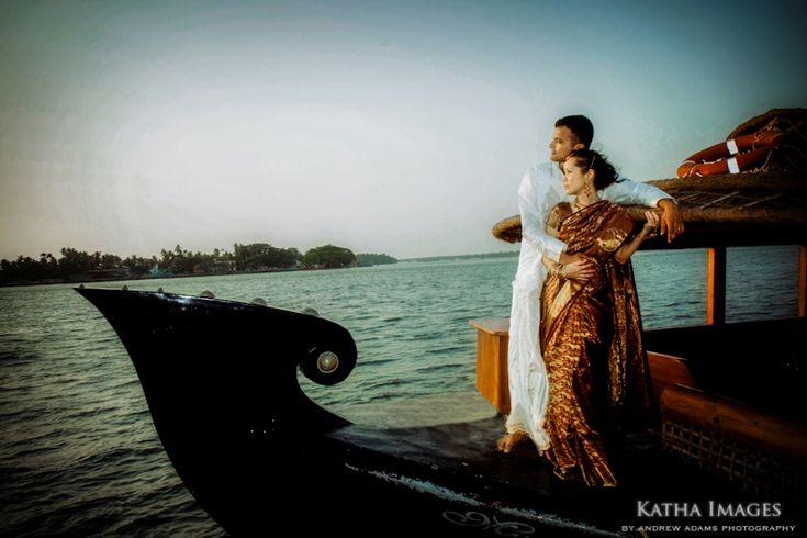 Kerala matrimony A wedding Photographer captures the bride and Groom on a house boat in Cochin