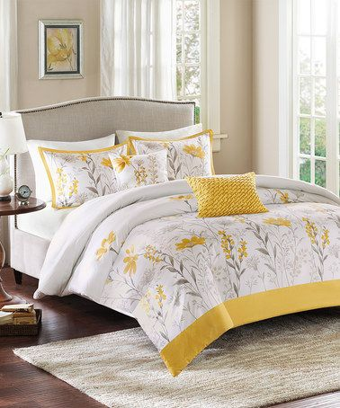 Another great find on #zulily! Yellow & Gray Floral Duvet Cover Set #zulilyfinds