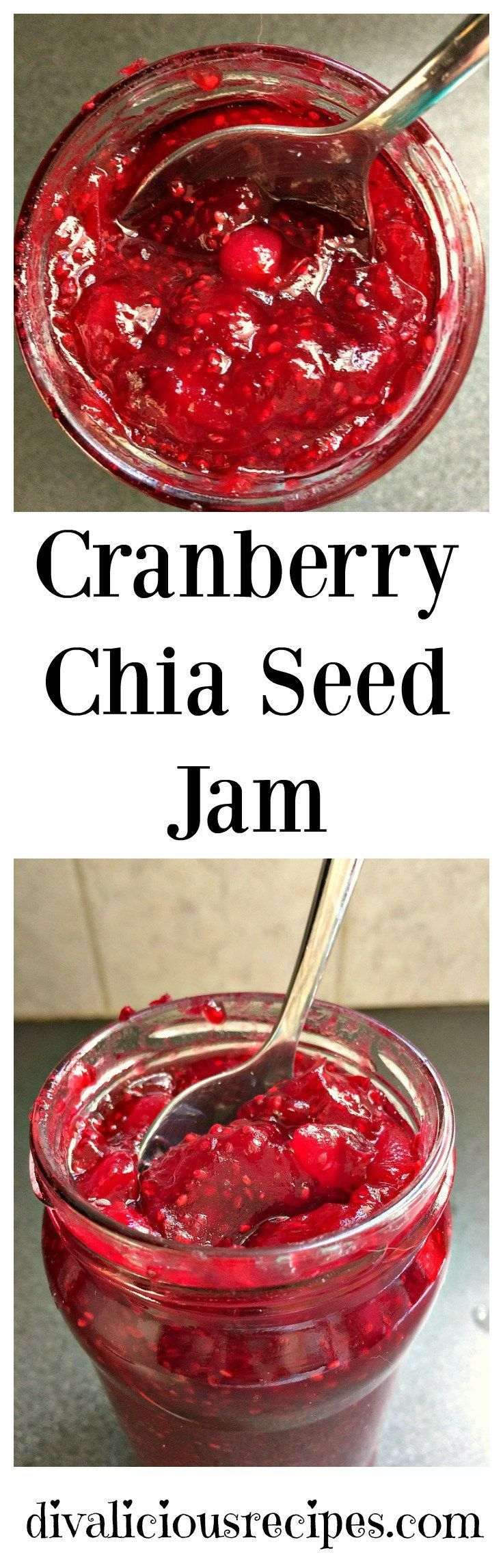 A cranberry jam that is thickened with chia seeds. Chia seeds are very absorbent and are a healthier alternative to thicken sauces and jams. Recipe: http://divaliciousrecipes.com/2016/12/12/cranberry-chia-jam/