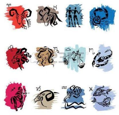 Horoskop. Dvanáct symboly znamení zvěrokruhu.