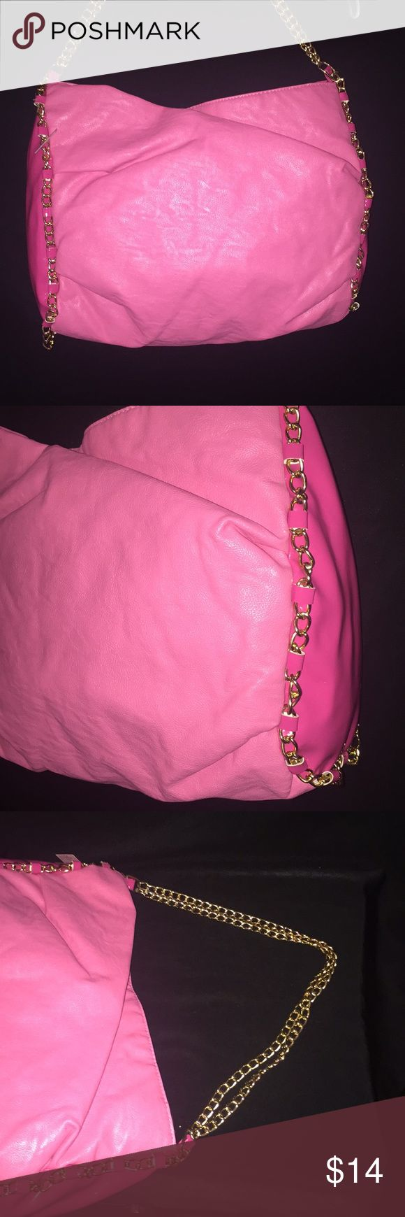 "Fashion Pink bag purse - gold rope chain Pink fashion gold chain purse- great used condition   Across 16""  By 11"" Bags"