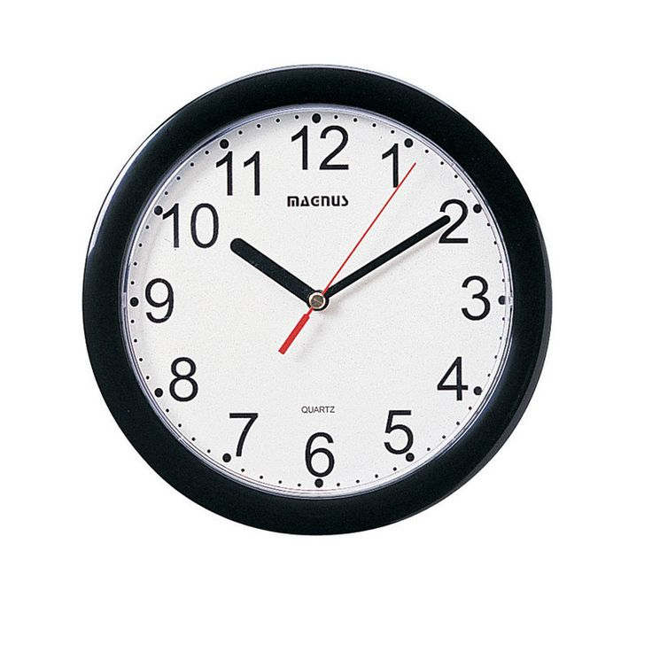 "Dainolite 8"" Dia Round Black Wall Clock Plastic Face 24003-BK"