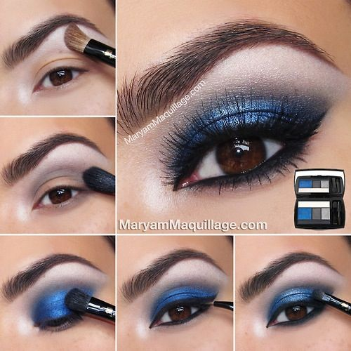 Fabulous eyes for a night out! These dark colors like black and blue really make your eyes stick out and look super unique! These would look good with a nude lipstick with gloss