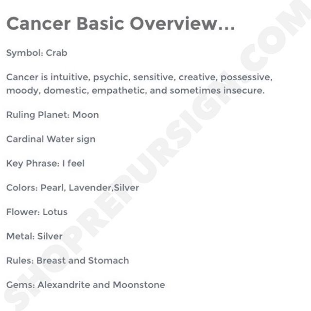 Cancer ♋ Zodiac Sign Basic Overview