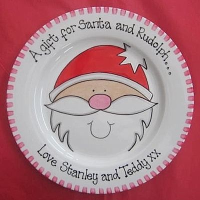Copyright for this design belongs to Amanda Kilbride/www.bluebellecreate.co.uk. Under no circumstances can this design be recreated or copied in any form. Hand painted Santa plate. Create your very own family tradition with this cute personalised mince pie plate  http://www.bluebellecreate.co.uk/bluebellecreate/prod_1036691-Mince-Pie-Plate-Santa.html