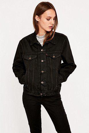 Urban Renewal Vintage Customised Overdyed '90s Levis Black Denim Jacket - Urban Outfitters