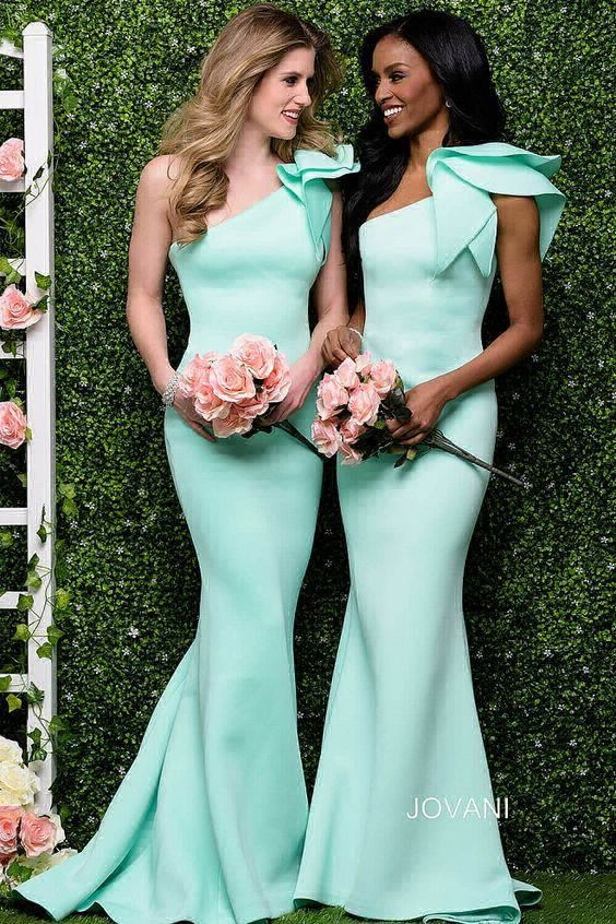 bc3226a100 Fashion Floor Length Mermaid Prom Dresses One Shoulder Ruffles Satin ...