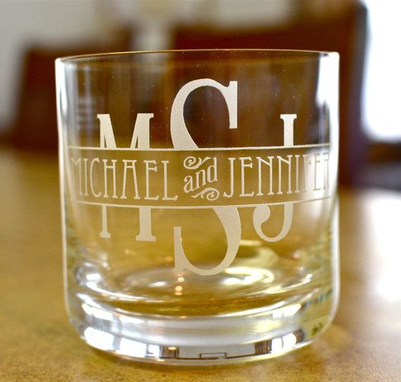 Custom Whiskey or Scotch Glasses...love this design. Both first names incorporated in the design works great.