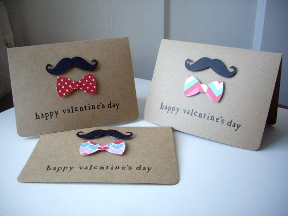 mustache card set valentine's day mustache by JDooreCreations, $5.25