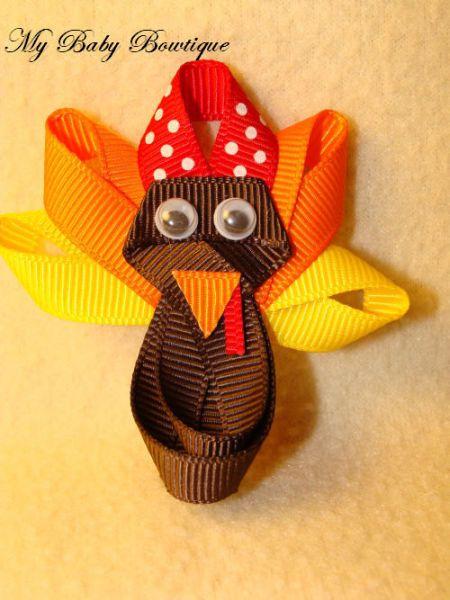 Toddler Girls Hair Bow Clippy - Turkey Clip - Holiday Fall Clip