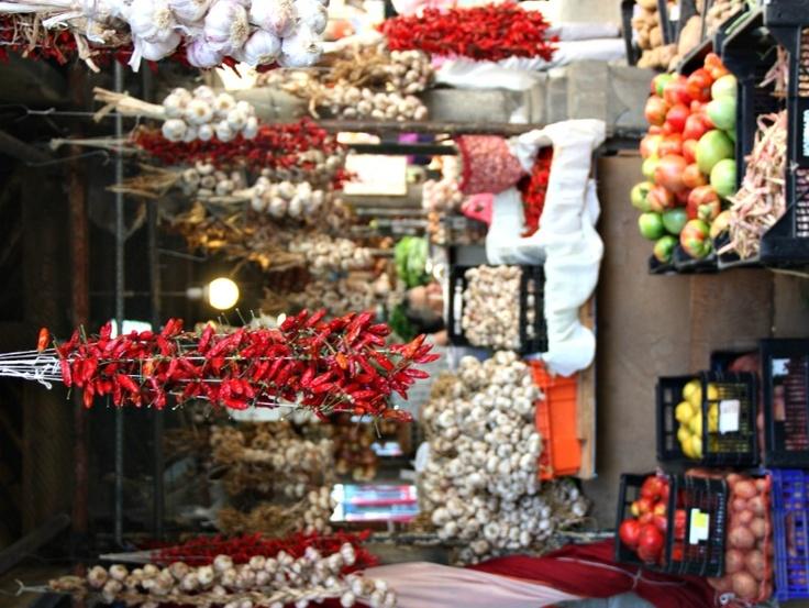 Porto, Mercado do Bolhão market - garlands, garlic, onions, chilli...