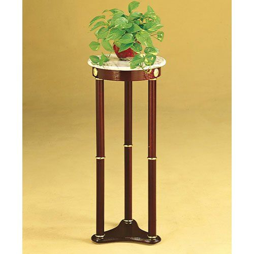 Coaster plant stand side table white marble top and cherry finish wood base coaster home - Plant pedestal indoor ...