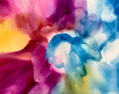 Arte de tinta de alcohol. Flor V por KCsCornerGallery en Etsy