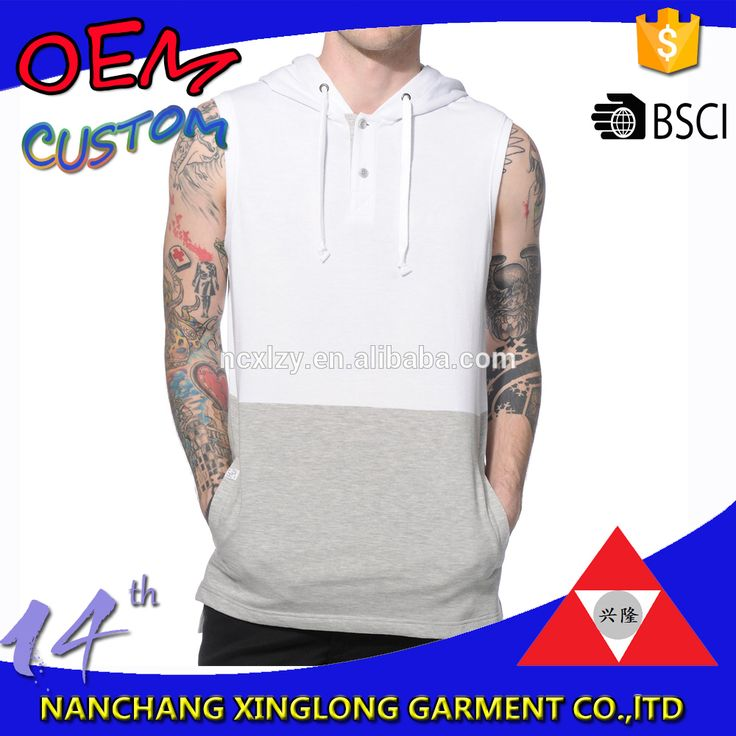 Check out this product on Alibaba.com APP Mens sleeveless contrast color drop tail with side split and placket with snaps sleeveless hoodie men white hoodies