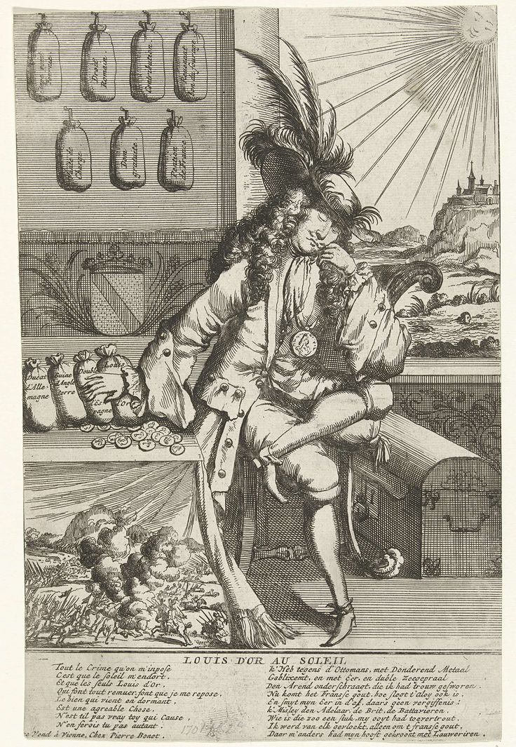 Anonymous   Spotprent op Lodewijk Willem van Baden-Baden, 1705, Anonymous, 1705 - 1706   Spotprent op Lodewijk Willem, markgraaf van Baden-Baden, omgekocht naar Franse zijde door koning Lodewijk XIV. De markgraaf slapend aan een tafel met goudstukken. In het onderschrift verzen in het Frans en Nederlands. Onderdeel van een reeks van 7 spotprenten op de Fransen en bondgenoten uit het jaar 1705.