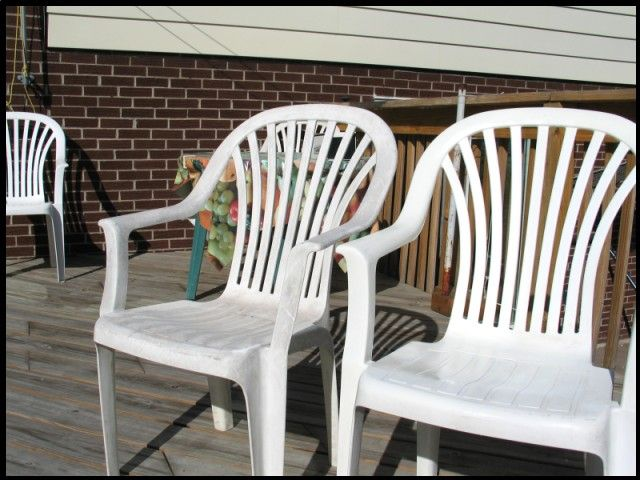 How to clean PLASTIC patio furniture - wet with water, then the real starting point is a ScotchBright pad.  Actually in this case although the real brand name ones last a bit longer, it is probably wise to go to the dollar store and buy a whole pile of the imitation nylon pads -- they don't last as long but we are going to throw them out rapidly anyway.