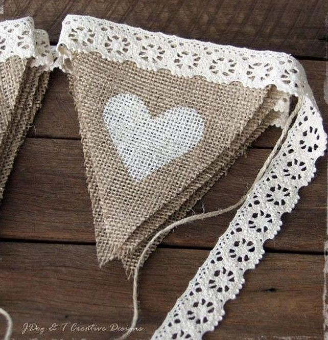 Bularp Ideas. Burlap hessian crochet lace bunting country vintage shabby wedding decorations. #Bunting #Bularp #WeddingDecorationIdeas