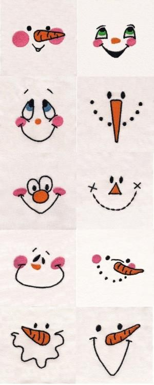 Snowman Faces Embroidery Machine Design Details. Use for Hand Embroidery snowman, doll faces. jwt by elma