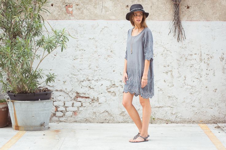 Sami Hat Hemp, Black. Giselle Dress Cottton Voile, Grey. Ebe Sandals Grey.