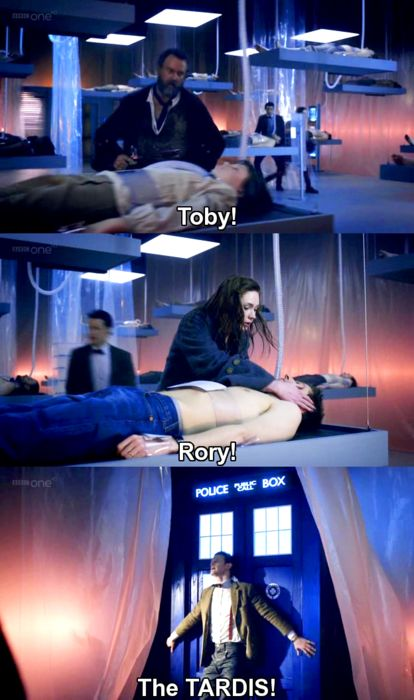 """Toby!"" ""Rory!"" ""The TARDIS!"" Even though it's a serious moment, I laugh every time the Doctor embraces the TARDIS in joy. #DoctorWho #EleventhDoctor #TheCurseOfTheBlackSpot"