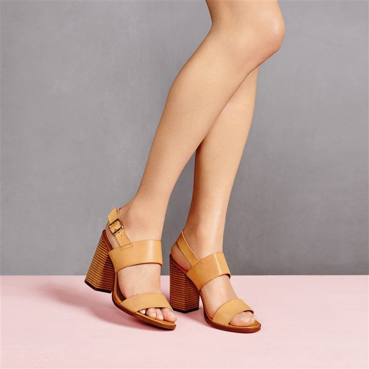 These Tan Stack Heel Sandals Are Perfect Paired With A Mini Skirt Or