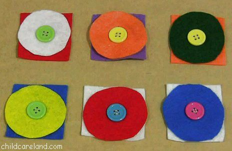 Felt Button Practice-I sewed buttons on felt squares and made button holes in round felt pieces. Children then buttoned the felt circles and squares together.
