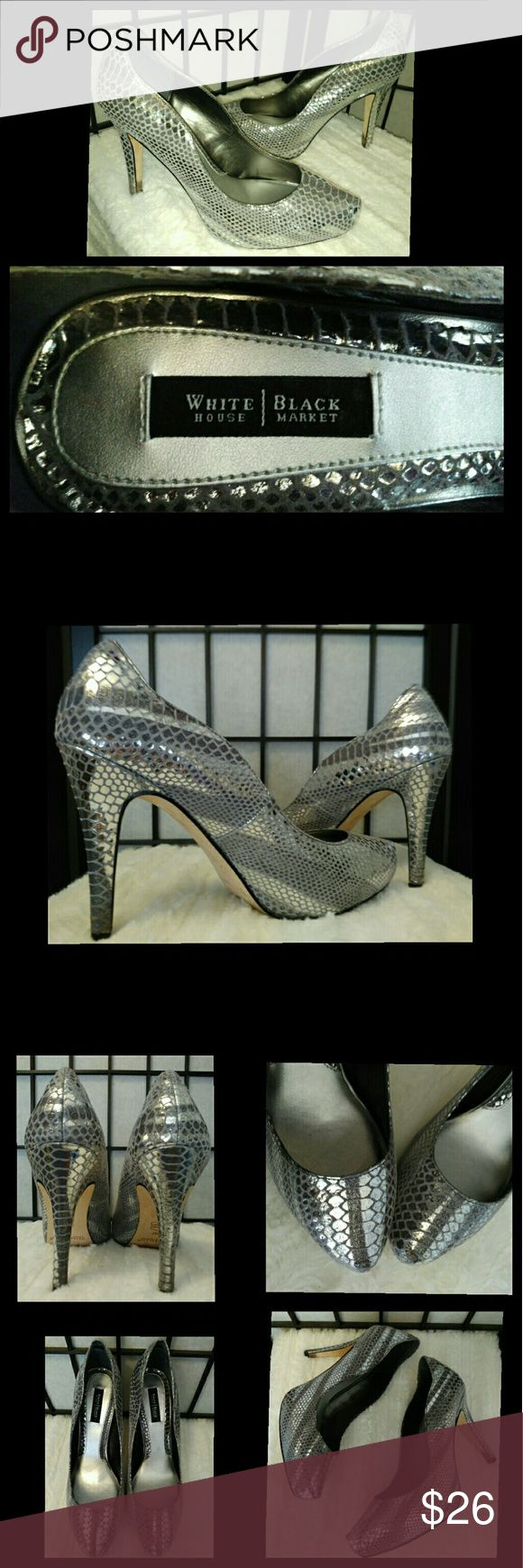 WHBM Metallic Silver Faux Snakeskin Heels Gorgeous and sexy heels! Fantastic condition! You can slightly see where removable insoles were used and taken out. Leather outsole. Bottoms show use from wear. Enjoy! :) Plz ask any Q's ~ I love to have happy buyers! :) #Scalloped #Pumps #Shoes #Exoticdancer #Stripper #Eveningwear White House Black Market Shoes Heels