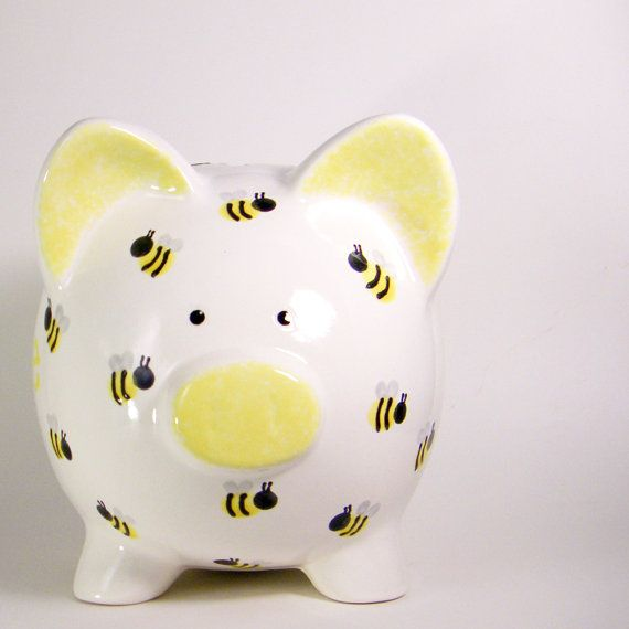 Bumble Bee Piggy Bank  Personalized Piggy Bank  Bug by ThePigPen, $42.50