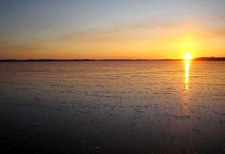 Sunset over the frozen lake.  #nature #finland  #harmony #lakeside #sunset #travel #vacation #family #peace #safety #froze #winter #north #scandinavia #aurinkoranta