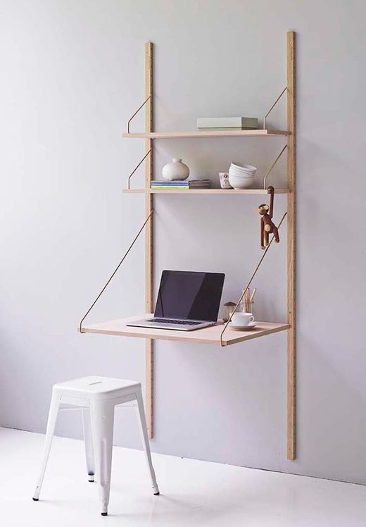 "In 1948 designer and manufacturer Poul Cadovius designed the Royal System shelving System: one of the world's first wall-hung furniture systems. ""Most of us live on the bottom of a cube. If we put the walls even with the floor, we get a lot of space to live on"" was the mantra of Poul Cadovius. This classic returns in the DK3 collection and I love the wall mounted desk set-up a lot."