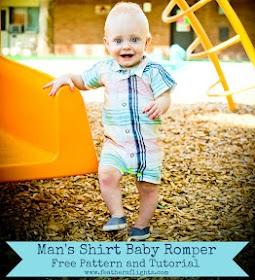 Me Sew Crazy: Feather's Flights - Men's Shirt Baby Romper {Pattern & Tute}...