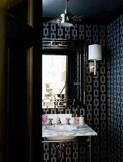Our new platinum chain maille border painted sink would look great in this bathroom. http://www.decoratedbathroom.com