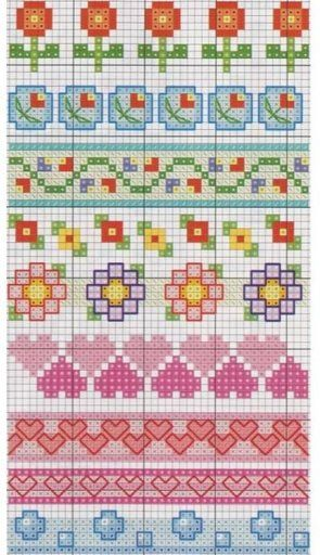 cross-stitch borders... no color chart available, just use the pattern chart as your color guide.. or choose your own colors...