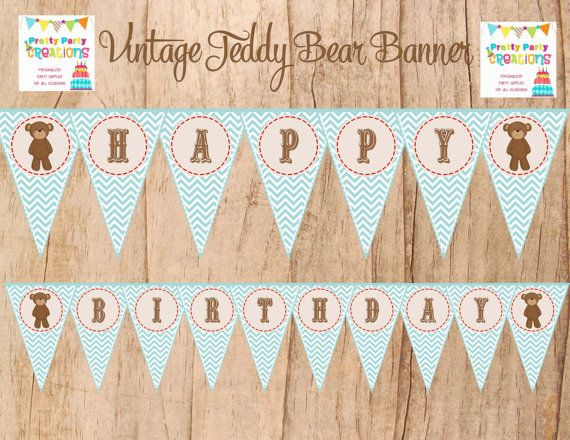 VINTAGE TEADY BEAR pennant banner  You by PrettyPartyCreations, $8.50