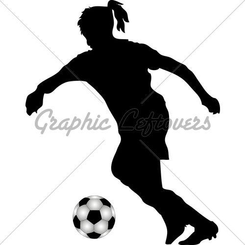 Girl Soccer Silhouette Vector girl soccer player sil...