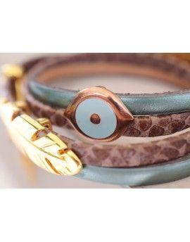 Βραχιόλι Brown Snake Leather Feather