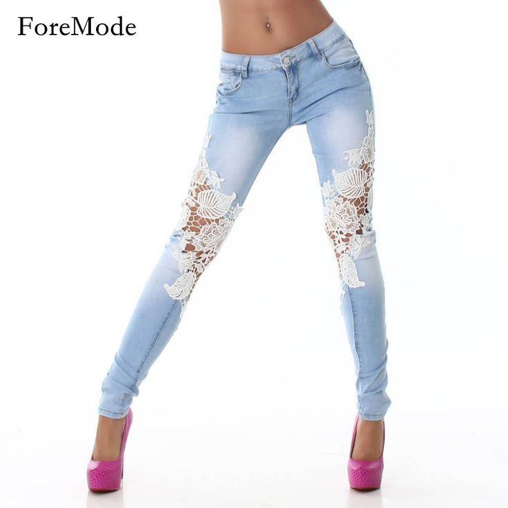 2016 Sexy Lace Women Jeans Long Pencil Denim Pants Femme Skinny Boyfriend Jeans Woman Plus Size