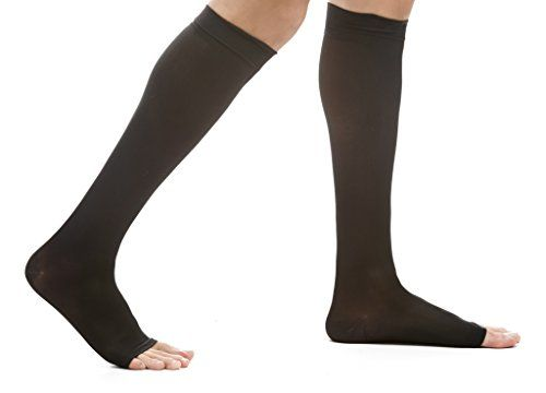 EvoNation Womens USA Made Open Toe Sheer Graduated Compression Socks 1520 mmHg Moderate Pressure Medical Quality Knee High Toeless Support Stocking Hose  Circulation Travel Medium Black *** Learn more by visiting the image link.