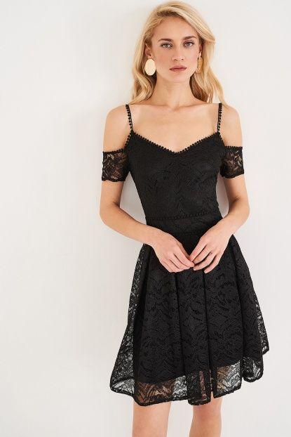 Siyah Dantel Elbise
