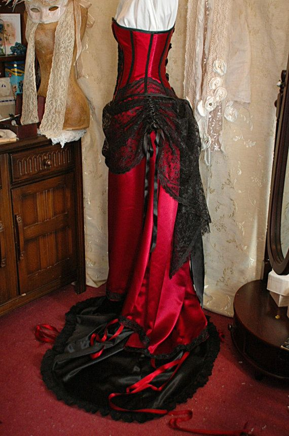 Cassandra Custom Made Burgundy And Black Wedding Dress