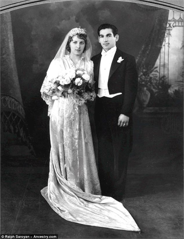 Kim's paternal grandmother Helen Arakelian (left) married Arthur Kardashian (right) in California. He was the son of Tatos Kardashian, also from an Armenian Molokan family