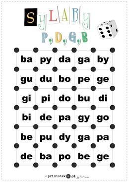Gra w kostki z sylabami otwartymi - głoski [p], [b], [d], [g] - Printoteka.pl