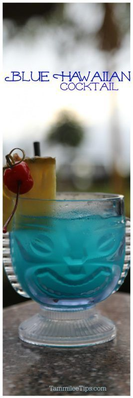 Blue Hawaiian Cocktail Drink Recipe that is super easy and great for tropical tiki parties. Easily make a big batch for a crowd or a single drink to enjoy yourself.  #cocktail #tiki #tropical #recipe #bluehawaiian